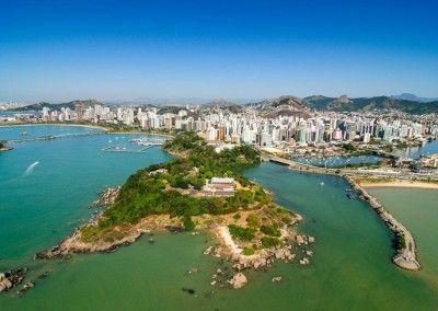 Vista aerea da cidade de Vitoria, Espírito Santo